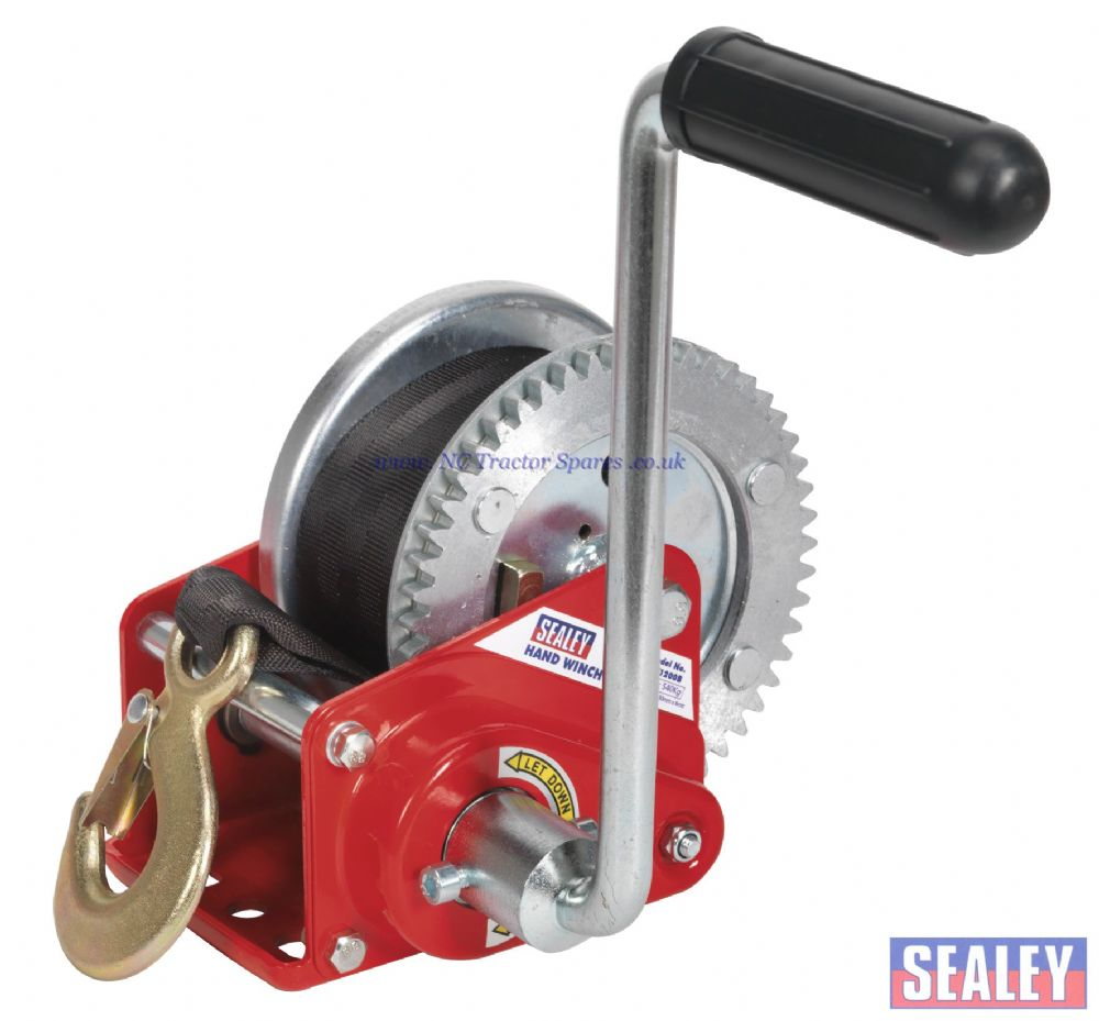 Geared Hand Winch with Brake & Webbing 540kg Capacity